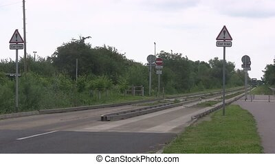 Two busses leaving a guided busway - Two busses leaving the...