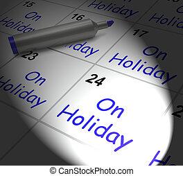 ligado, feriado, Calendário, monitores, anual,...