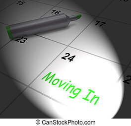 Moving In Calendar Displays New House Or Place Of Residence...
