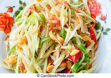 "Green papaya salad Thai cuisine spicy delicious : "" SOM TAM..."