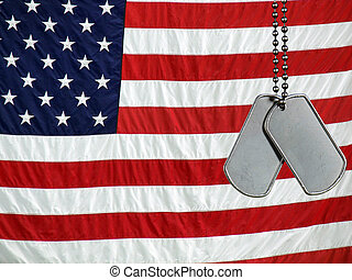 Never Forget - Military dog tags on a flag background.
