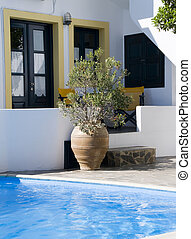 swimming pool greek cyclades architecture - swimming pool at...
