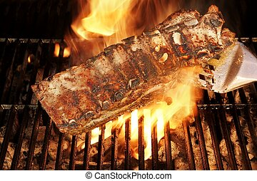 Grilled Pork Ribs on the BBQ Grate, XXXL - Grilled Ribs on...