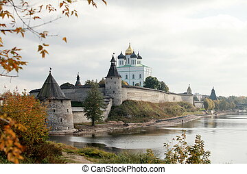 Russian Kremlin - View of the Pskov Kremlin and river in...