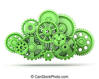 Green gears on white isolated background 3d