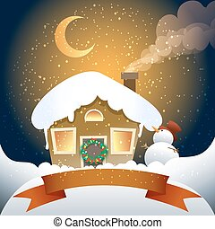 christmas card with banner - A vector illustration of...