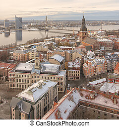 Riga Panorama of Old Town Cathedral - RIGA, LATVIA - OCTOBER...