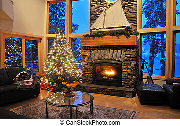 winter livingroom - livingroom of an upscale house in winter...