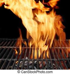 vide, BARBECUE, gril, brûlé, charbon de bois,...