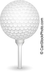 Golf realistic ball on a tee - Golf ball on white tee...