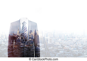 businessman without a head standing on city background