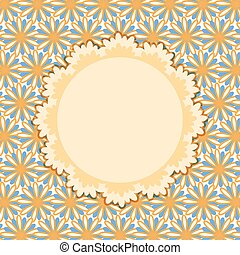 Invitation Card with round Vignette on Flower Pattern