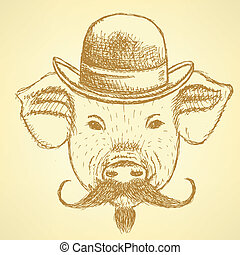 Sketch pig in hat with mustche, vector ackground - Sketch...