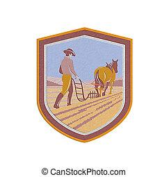Metallic Farmer and Horse Plowing Farm Field Crest Retrometallic, 3d, metal,
