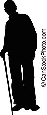 a poor man with walking stick, silh
