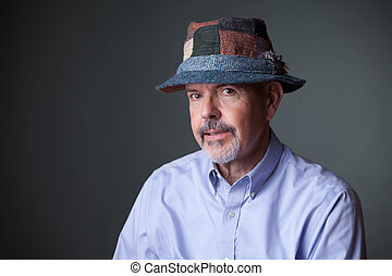 man in irish hat - gentleman in shirt and in irish hat