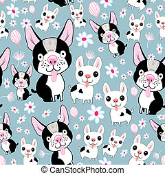 funny dog pattern - cheerful seamless pattern with small...