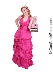 hot pink dress girl - one twenties redhaired woman in a hot...