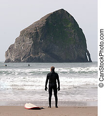Lone Surfer Stands Looking Ocean Surf Sea Waves Surf Sport -...