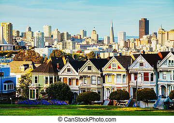 San Francisco cityscape as seen from Alamo square park - San...