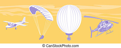 Airplane, paragliding, air ballon and helicopter