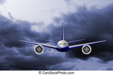 Airplane jet in sky front view