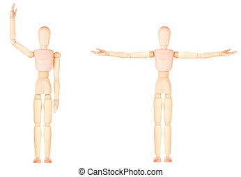 Close-up Of Wooden Dummy Isolated Over White Background