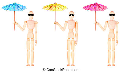wooden Dummy with an umbrella and sun glasses - wooden Dummy...