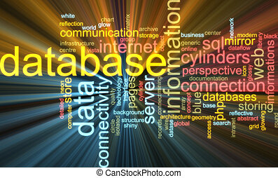 Database word cloud glowing - Word cloud concept...