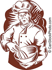 Baker with a woodcut bowl
