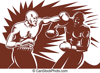 Two boxers connect with left hook