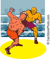 Two boxer with a right hook dodge - Illustration of two...