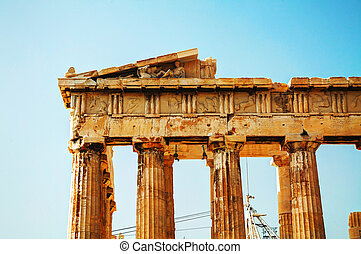 Parthenon at Acropolis in Athens, Greece - Parthenon close...