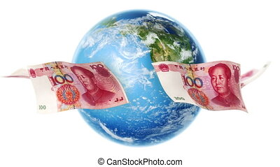 YUAN Banknotes Around Earth Loop - 100 Yuan bills flying...
