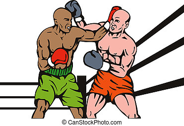 Two boxer standoff - Illustration of a two boxer stand off...