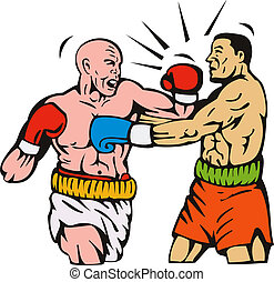 Two men boxing left hook punch