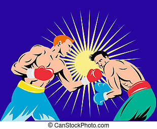 Boxing uppercut with yellow sunburst - Illustration of two...