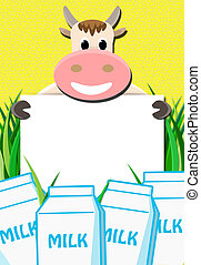 Cows milk with paper - cow with blank paper and milk