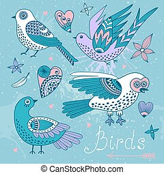 Vector set birds and hearts. Hand drawn elements for design.