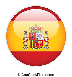 Spain flag button on white