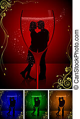 Dancing Couple on a Dance Party, Nightlife, Wine, Lovers