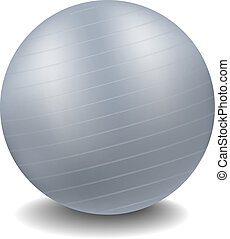 Gym ball in grey design with shadow on white background