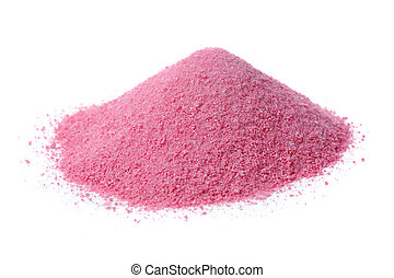 Pink Fruit Juice Powder Concentrate Isolated on White Background