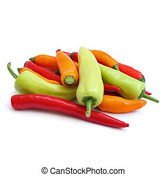 group of chilies on white background