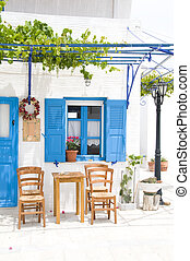 outdoor greek cafe setting greece islands - outdoor cafe...