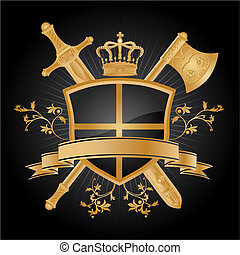 Coat Of Arms - Heraldic pattern with floral on black...