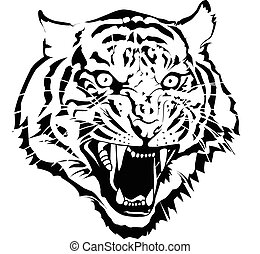tiger - Black and white tiger head vector by illuatraror