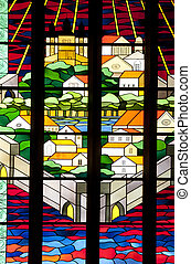 Stained glass window - Beautiful stained glass window in...