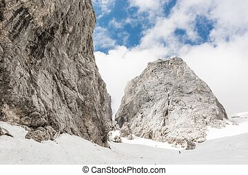 Mountain pass covered in snow, Ozebnik, Slovenia