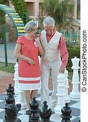par, tocando, xadrez